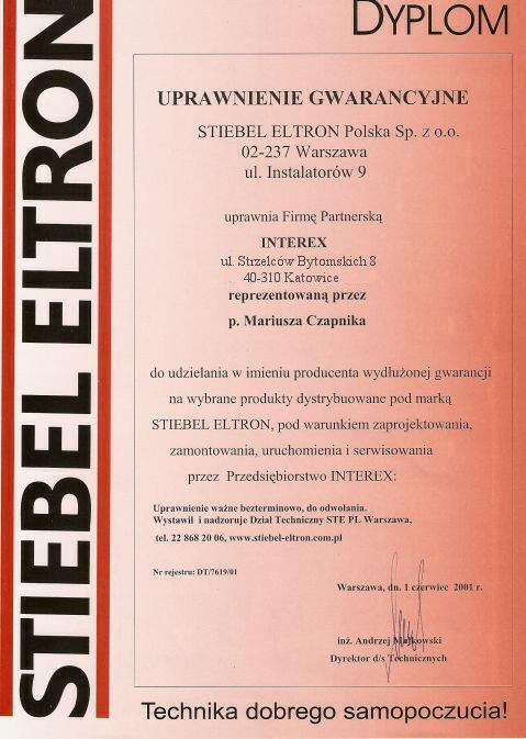 Uprawnienia gwarancyjne Stiebel Eltron